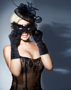blonde with carnival mask