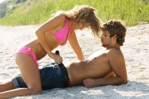 Young passionate couple on the seaside