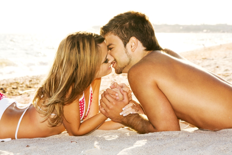 Romantic couple on the seaside