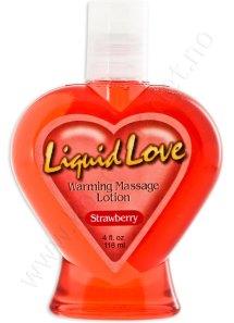 Liquid Love massasjelotion med jordbærsmak. Finnes også i andre deilige smaker
